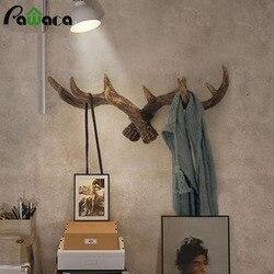 Retro estilo americano criativo chifres gancho cabeça dos cervos saco de suspensão de parede gancho chave casaco gancho cremalheiras cabide suporte modelagem decoração da parede