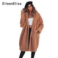 Eileen Elisa Brown Coat Winter Women Faux Fur Coats Long Cardigan Autumn Loose 2018