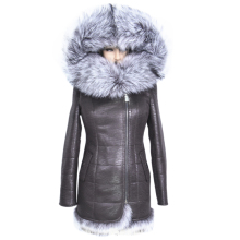 Factory Direct Supplier Winter Women Coats Full Artificial Fashion Slim Suede Female Jacket Models Faux leather Fur Collar Fox