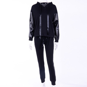 Image 4 - XUANSHOW Streetwear Cotton Casual Tracksuit Womens Autumn Winter Zipper Irregular Stitching Hoodies Long Pant Two Piece Suit