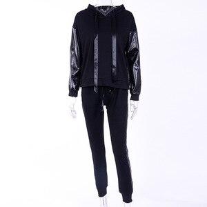 Image 4 - XUANSHOW Streetwear bawełniany dres codzienny damski jesień zimowy zamek błyskawiczny nieregularne szwy bluzy długie spodnie dwuczęściowy garnitur