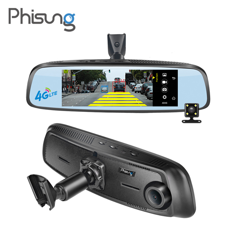 Phisung 7.84 FHD 1080P Dual Lens Car DVR WiFi 4G Android GPS Navigator ADAS Dash Camera Rearview Mirror Parking Video Recorder