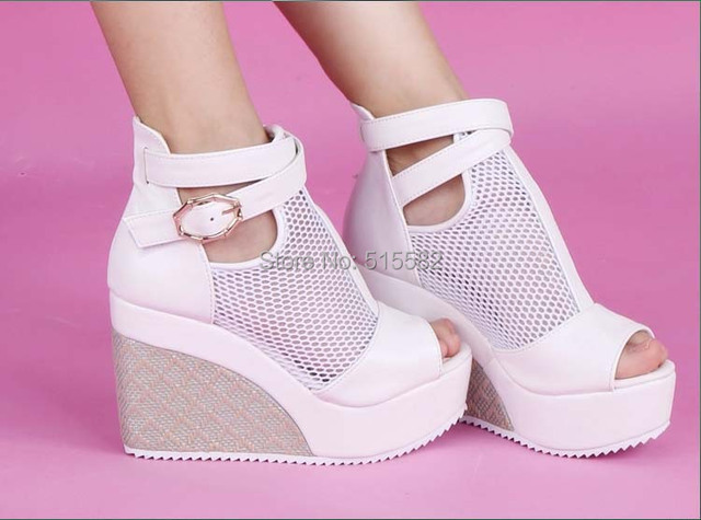 9208e9f3ad39 2017 hot sale women summer boots wedges high heels platform mesh shoes sexy  open toe buckle