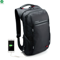 Brand External USB Charge Computer Bag Anti Theft Notebook Backpack 15 17 Inch Black Waterproof Laptop
