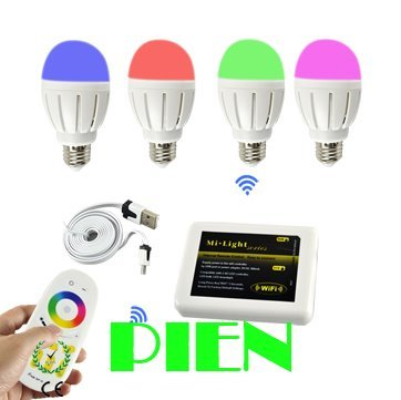 16pcs wifi Bulbs+1 Touch Remote+1 Wifi Controller 2.4G Group Division 6W 9W LED Bulb Lamp AC86-265V CE&ROHS Free shipping DHL