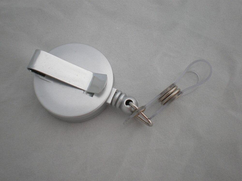 Лот 50 шт. серебряный цвет ID карты держатель для бейджа клип, выдвижной с поясная пряжка, нейлоновая веревка, медсестры офиса