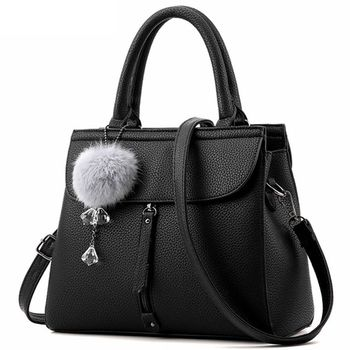 Women Fur Ball Ornaments Zipper Shoulder Handbag