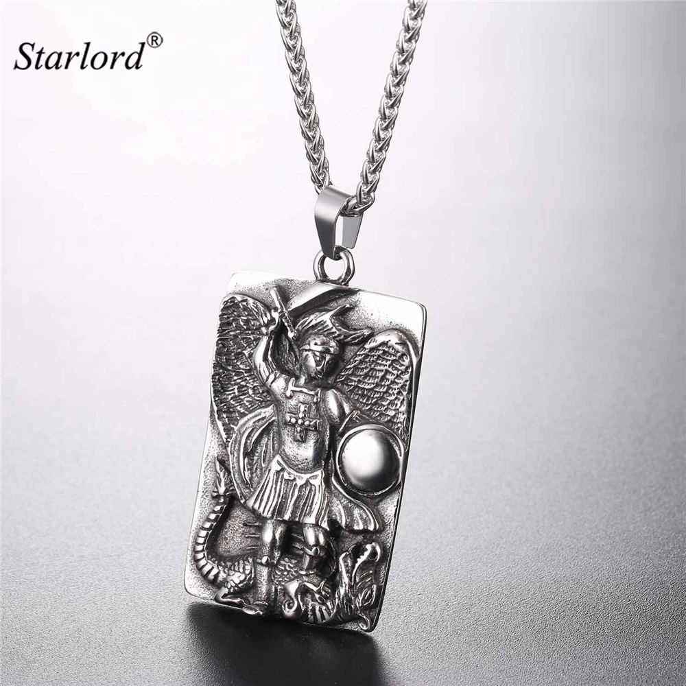 st michael the archangel prayer pendant necklace stainless