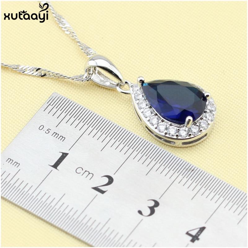 XUTAAYI Ən yüksək keyfiyyətli 925 gümüş zərgərlik, mavi - Moda zərgərlik - Fotoqrafiya 3