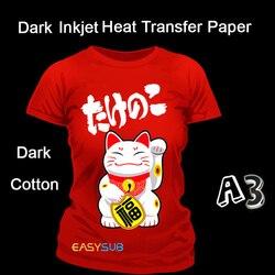 50 arkuszy A3 papier do drukarek atramentowych ciemny papier sublimacyjny papier termiczny do majsterkowania ciemny bawełniany T-shirt z ciemnej bawełny