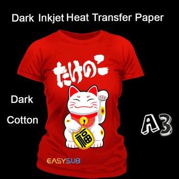 50 hojas de A3 de inyección de tinta oscuro papel de transferencia de calor de la sublimación papel de impresión de papel para DIY oscuro Camiseta de algodón oscuro tela de algodón