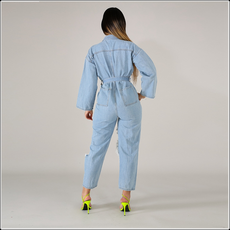 Women Fashion Loose Hollow Ripped Denim Jumpsuit Long Sleeve Scrub Washed Holes Overalls Button Turn down Collar Romper Big Size in Jumpsuits from Women 39 s Clothing