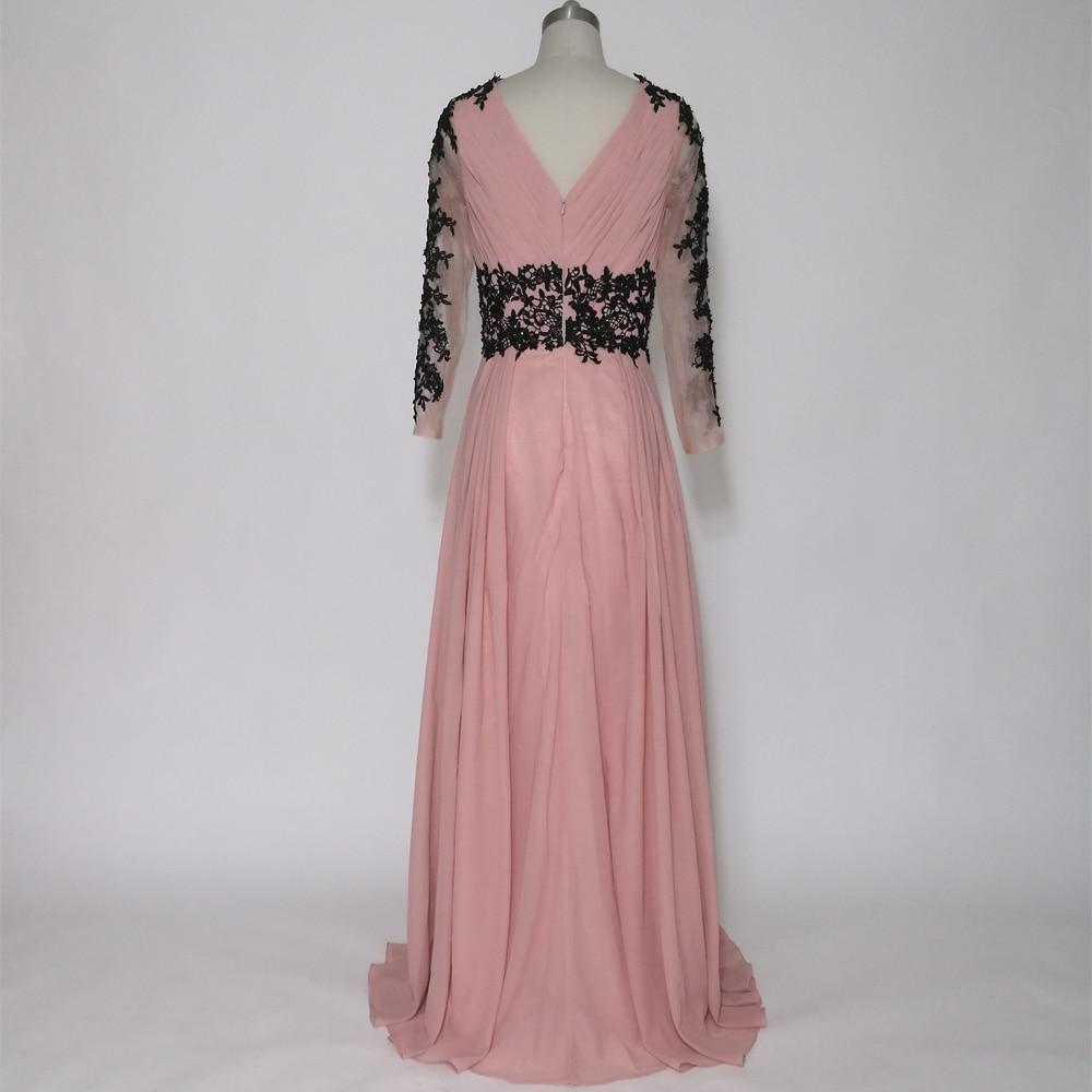 E JUE SHUNG Tozlu Pembe Siyah Dantel Aplikler Uzun Abiye Derin V Yaka - Özel Günler Için Elbise - Fotoğraf 2