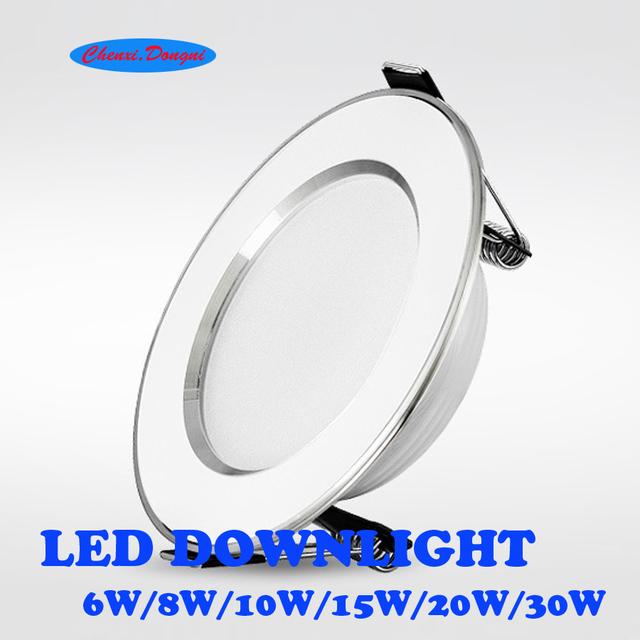 Led Downlights 10pcs lot 6W 8W 10W 15W 20W 30W 220V LED Ceiling Downlight 2835 Lamps Led Ceiling Lamp Home Indoor Lighting cheap Knob switch Foyer 3 years ROHS Aluminum chenxi dongni White SMD2835