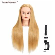 "Traininghead 26-28 ""Wig Mannequin Head Dengan Stand Synthetic Hair Training Doll Kepala Manikin Dengan Rambut Profesional Hairstyles"