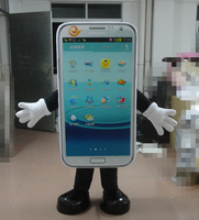 Beautiful White Cell Phone Mobile Phone Handset Mascot Costume With free shipping Holiday special clothing