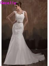 2017 Vestidos De Novia Formal Long Ivory Mermaid Wedding Dresses Lace Appliques Fishtail Bridal Gowns With Straps Robe De Mariee