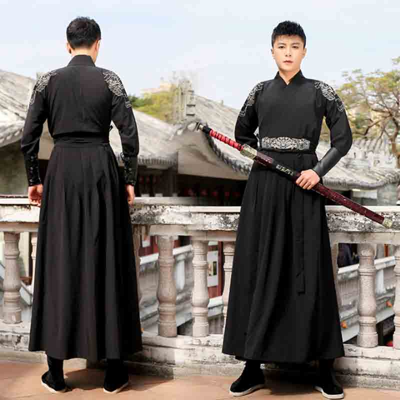 Mens Hanfu Ancient Traditional Chinese Vintage Black Sets Outfit Halloween Cosplay Costume Fancy Dress For Men Plus Size 2XL