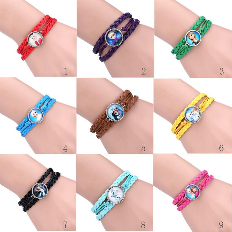 Colors Bracelet The Snow Queen Bracelets Anna And Elsa Princess Hand Catenary Snow Man Bracelet Free Shipping