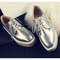 De las mujeres Enredaderas Zapatos de Plataforma Plana de Cuero Genuino Pisos Zapatos de Las Mujeres de Las Señoras Negro Zapatos Oxford Para Las Mujeres Más El Tamaño 34-43