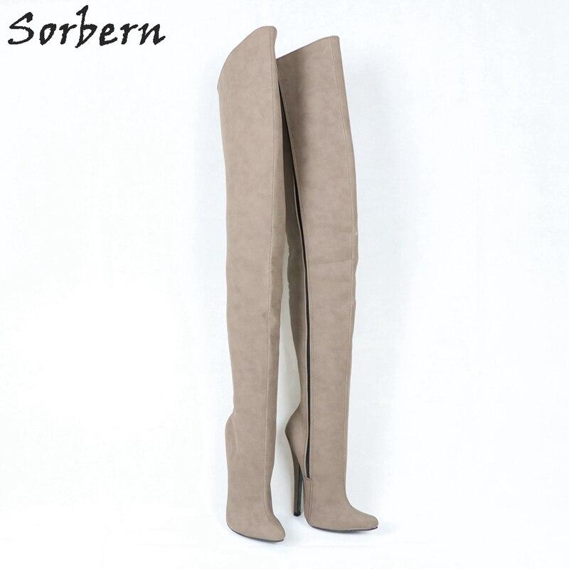 ... De Sexy Alto 12 Dedo Heel Mujeres Duro Piernas Las Pie Boot 12cm 18cm  Slim Mujer ... 18fa19c28476e