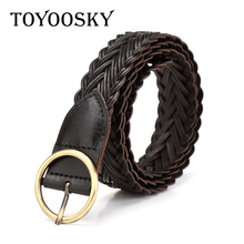 TOYOOSKY Genuine Leather Women Belts Brown Fashion Weave for Jeans Designer High Quality
