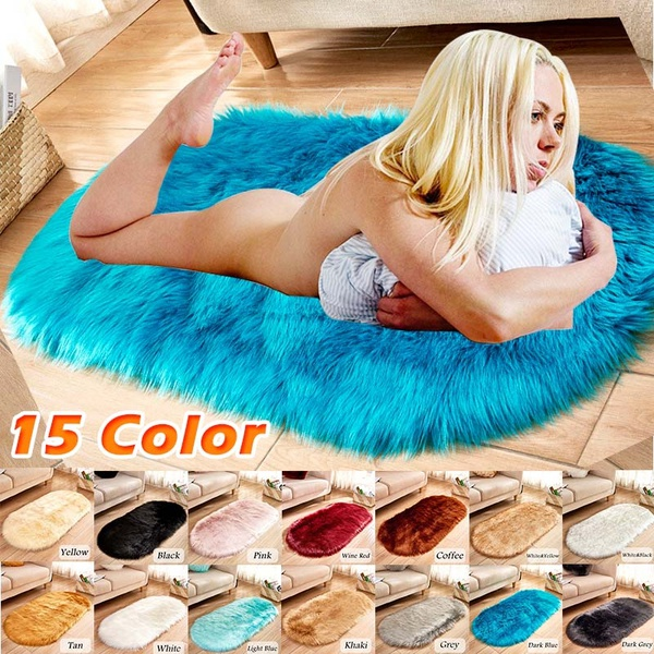 Oval Faux Fur Sheepskin Rug Carpet Kids Plat Mat Soft Faux