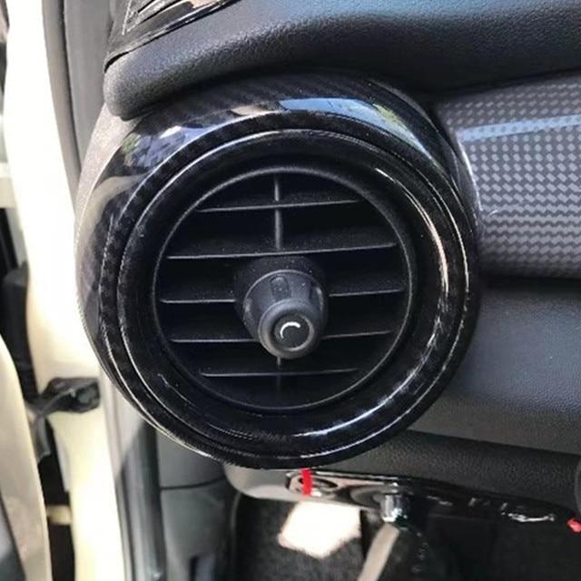 2pcs Lhd Carbon Fiber Circular Air Vent Decorative Cover For Mini Cooper F55 F56 F57 Hatchback