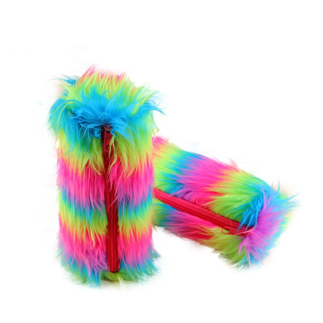 creative fuzzy fluff school pencil case bright color super cool pen