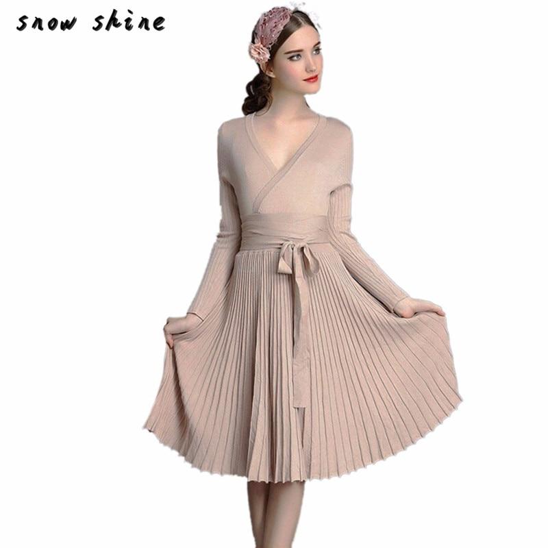 snowshine YLI Women A-line Deep V Neck Pleated Dress Vintage Long Sleeve Knitting Dress FREE SHIPPING