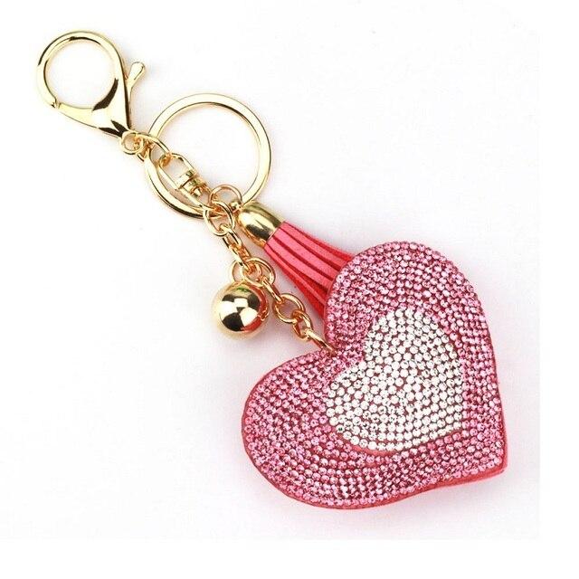 MISANANRYNE New Fashion 9 Colors Key Chain Two - color Heart Shape Keychains for Women Charm Handbag Pendant Accessory