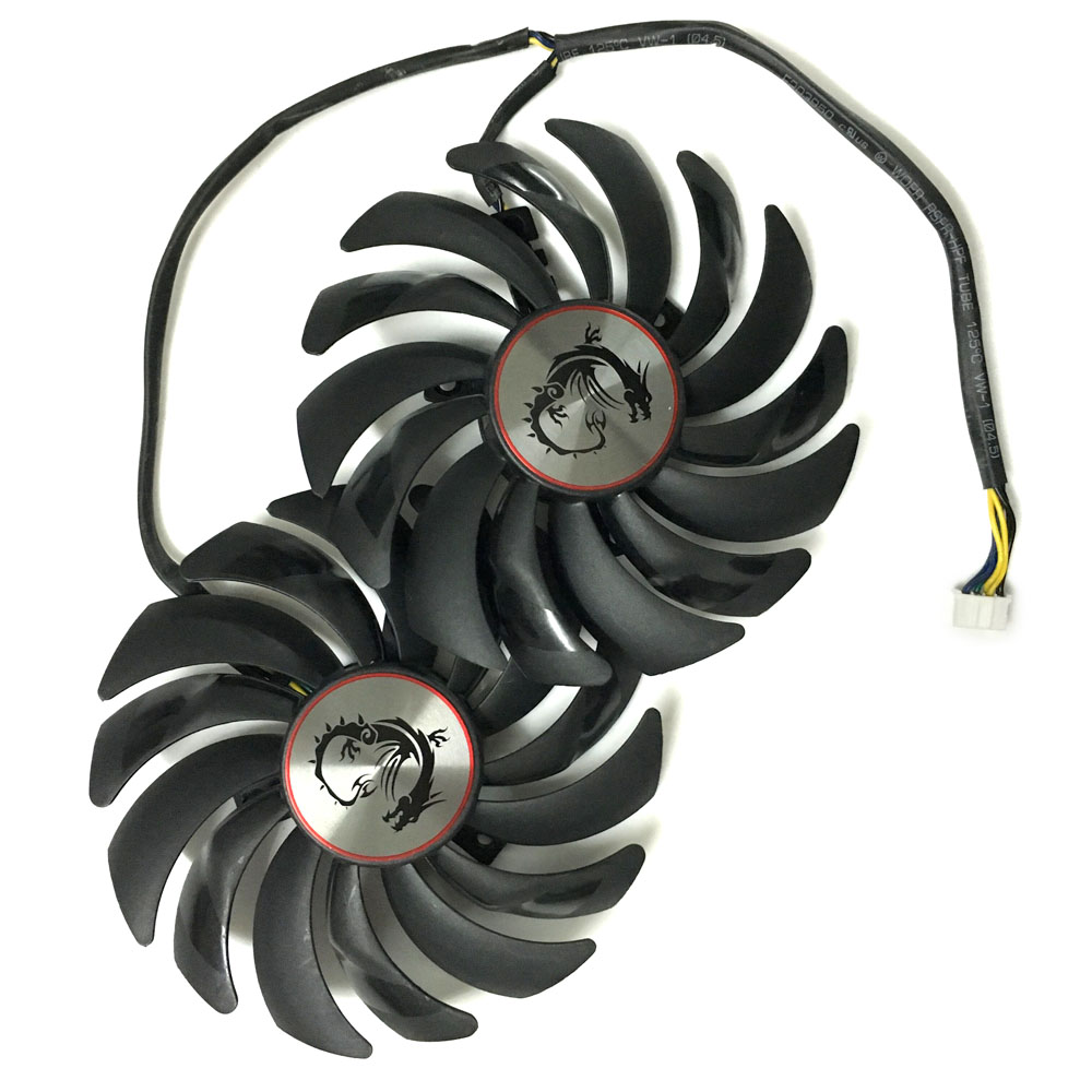 2pcs/lot computer radiator cooler Fans Video Card cooling fan For MSI GTX1080/GTX1070/GTX1060 GAMING GPU Graphics Card Cooling computer video card cooling fan gpu vga cooler as replacement for asus r9 fury 4g 4096 strix graphics card cooling
