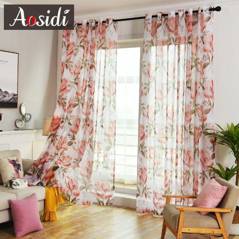 Red Flowers Tulle Curtains For Living Room Bedroom Kitchen Ready Made Custom Floral Voile Sheer Curtains Linen Window Home Decor
