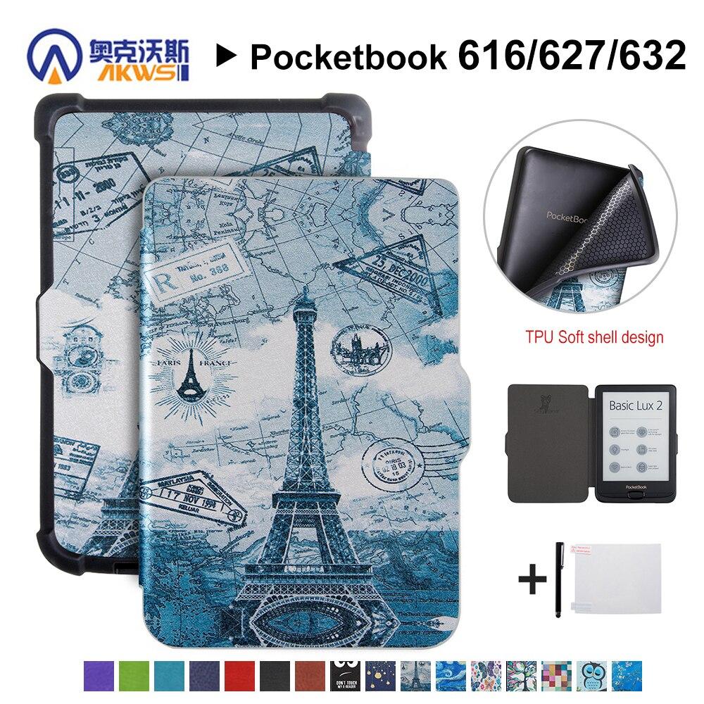 Caminante caso Delgado para el cuaderno 616/627/632 piel de la cubierta protectora del Ereader para Pocketbook básico Lux 2/ touch Lux/touch HD 3 + regalo