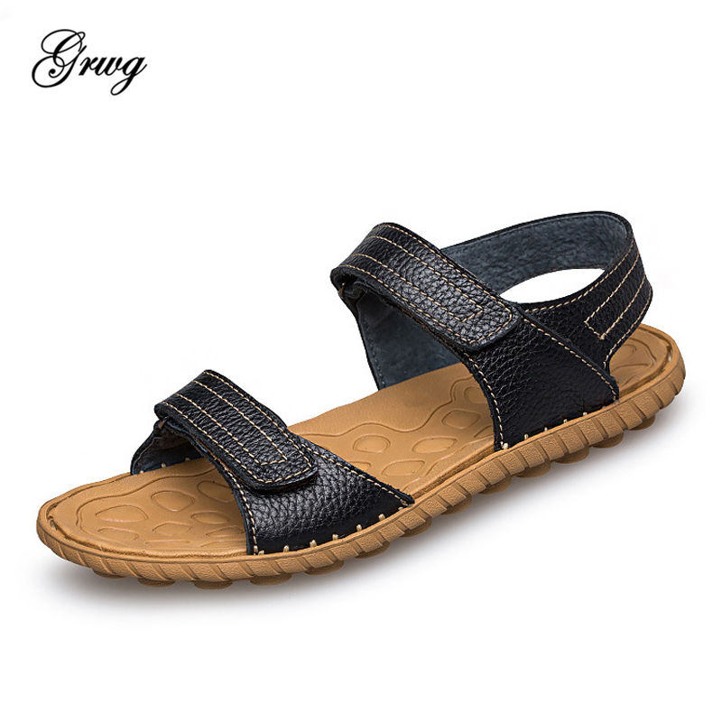 GRWG 2018 New Fashion Summer Beach Breathable Men Sandals 100% Genuine Leather Mens Sandals Man Casual Shoes Plus Size 38-47