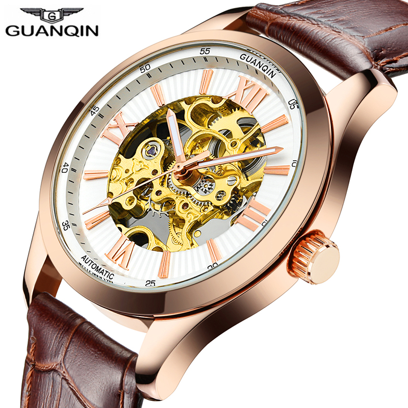 High End Skeleton watch Original GUANQIN Luxury automatic watch Top brand Mechanical Watches Men Leather Band Sapphire Luminous holuns original luxury automatic mechanical watch golden big dial sapphire mirror hollow watch men casual retro leather watches