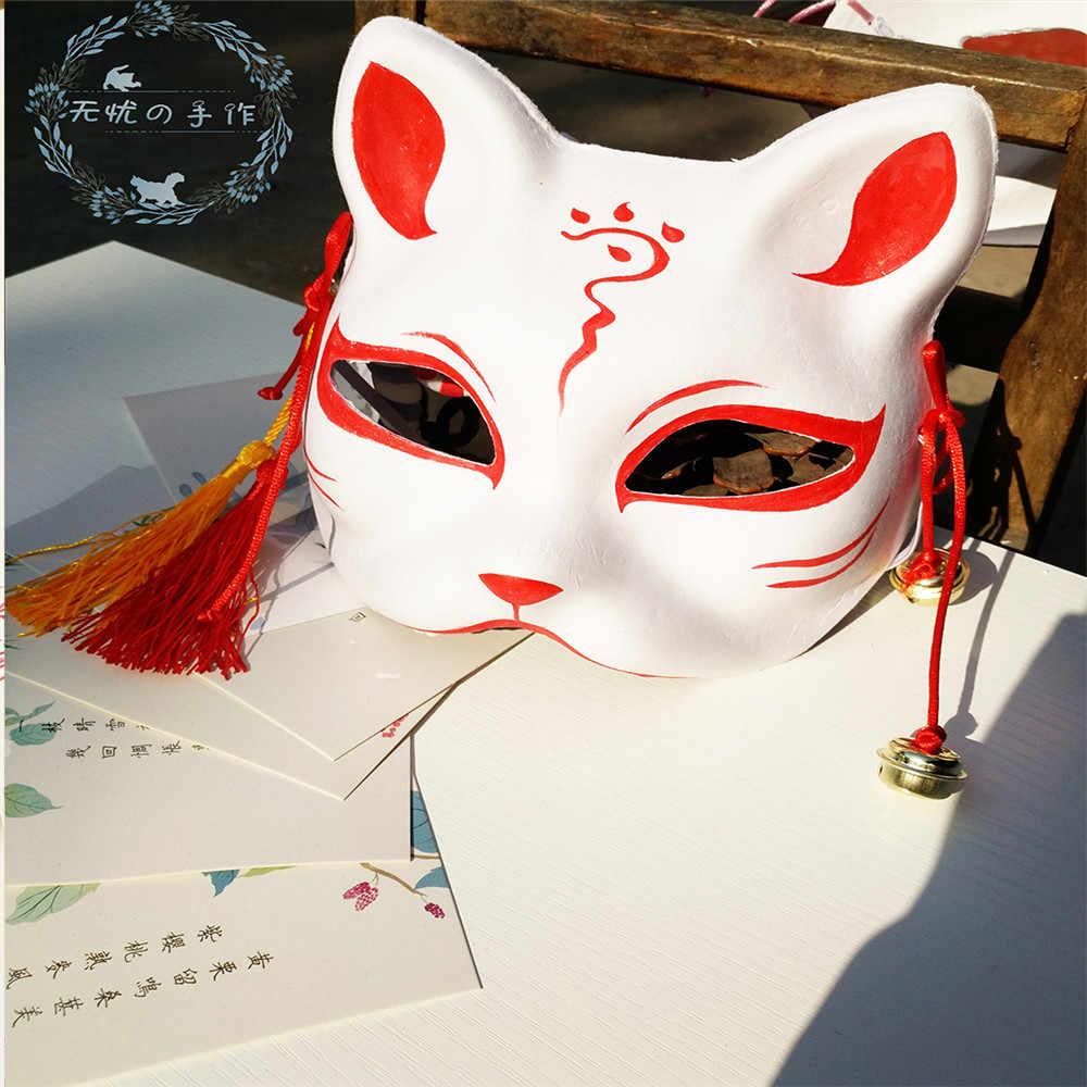 ใหม่ญี่ปุ่นส่วนตัวสุนัขจิ้งจอกมือวาดแมว Natsume's Book of Friends Pulp Fox หน้ากากใบหน้าครึ่งหน้ากากฮาโลวีนคอสเพลย์หน้ากากสัตว์