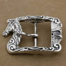 Огромный тяжелый 925 пробы серебряный Лошадь и череп мужская Байкерская пряжка ремня 9C010