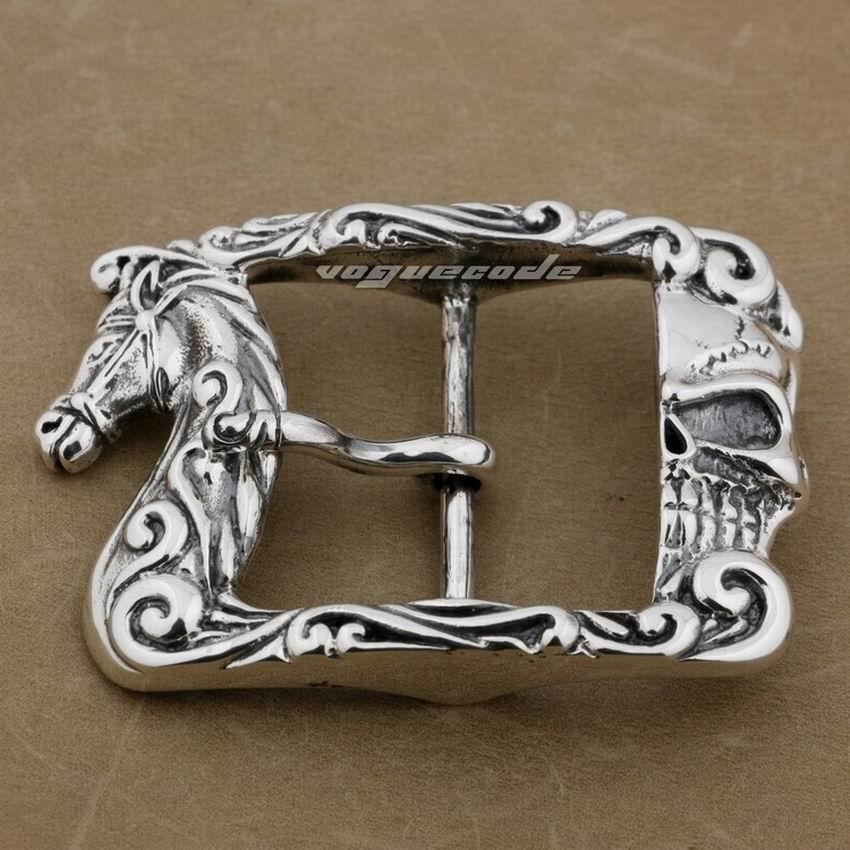 Énorme boucle de ceinture en argent Sterling 925 pour hommes avec cheval et crâne 9C010