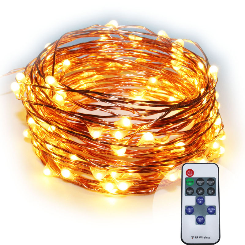 5X10m 33ft 100 LED warm white brown copper wire remote control fairy lights,firefly micro ...