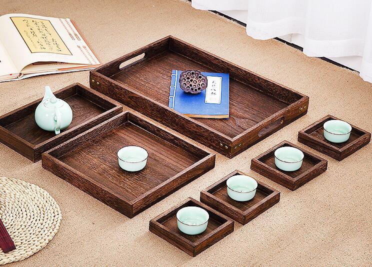 Plateau de service Antique en bois avec laque | Ensemble de 7 pièces/ensemble pour le thé café petit déjeuner autres articles, Table à thé japonaise/chinoise Gongfu