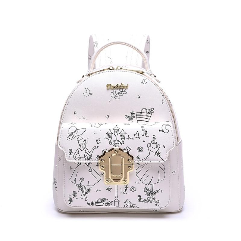 ФОТО 2017 Women Leather Backpack Backbag Brand Female Mochila Menina For Teenagers White Backpack Sac A Dos