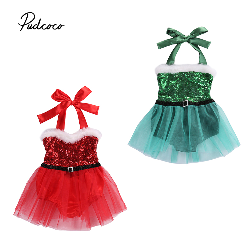 XMAS Newborn Baby Little Girls Bodysuits Dress Infant Babies Girl Santa Tutu Dresses Outfits Costume One-piece Clothing