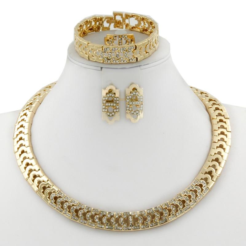 2019 mode Italienische Frauen Gold Afrikanische Perlen Schmuck Sets - Modeschmuck