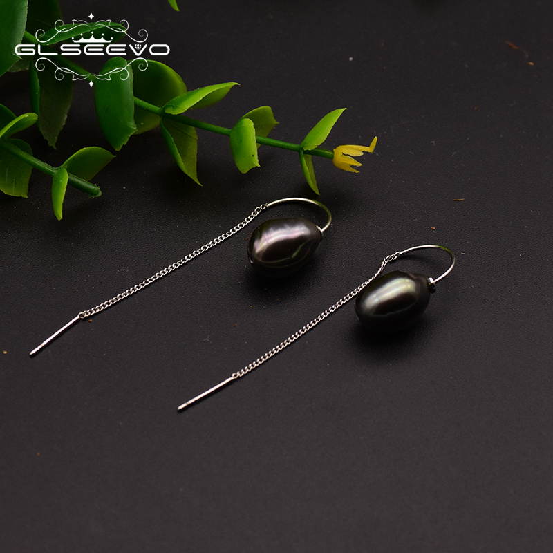 XlentAg Handmade Original Design Natural Fresh Water Black Pearl Drop Earrings For Women Piercing Fine Jewelry GE0697