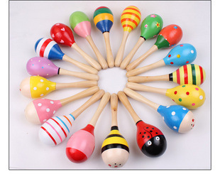 12cm Mini Wooden Ball Childrens Toys Baby Rattles Percussion Musical Instruments Sand Hammer