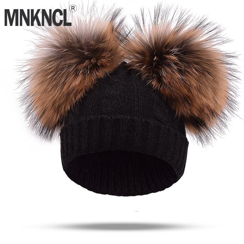 Real Mink Fur Pompom Hat Women Winter Caps Knitted Wool Cotton Hats Two Pom Poms   Skullies     Beanies   Bonnet Girls Female Cap