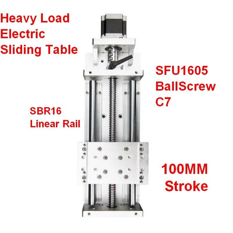 Linear Stage 100MM Stroke CNC Heavy Load Electric Precision Milling Sliding Table Slide SFU1605 C7 Ball Screw SBR Guide Platform