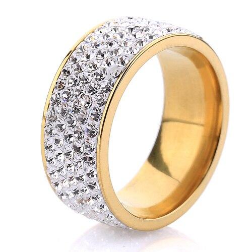 5 ряда(ов) кристалл ювелирного бесплатная доставка оптовая продажа 18 К позолоченный нержавеющей стали обручальные кольца
