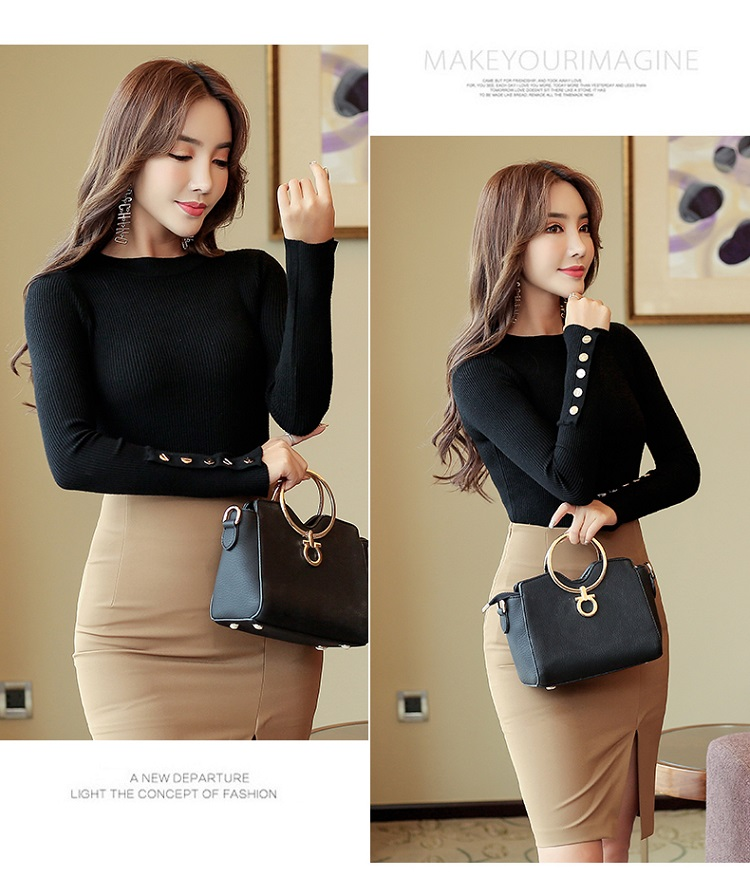 Fashion 19 New Spring Autumn Women Sweater Knitted Long Sleeve O-Neck Sexy Slim Office Lady Button Casual Sweaters Tops 18